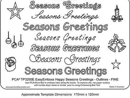 PCA EasyEmboss 'Seasons Greetings' Outlines - FINE