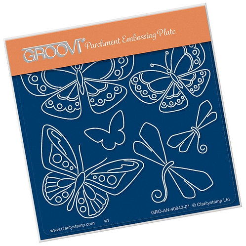 Tina's Butterfly Fun  A6 Square Groovi Plate GRO-AN-40943-01