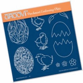 Groovi Ornate Eggs & Chicks Plate A5