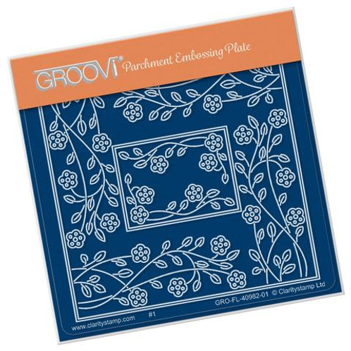 TIna's Rectangle Flower Parchlet A6 square Groovi plate