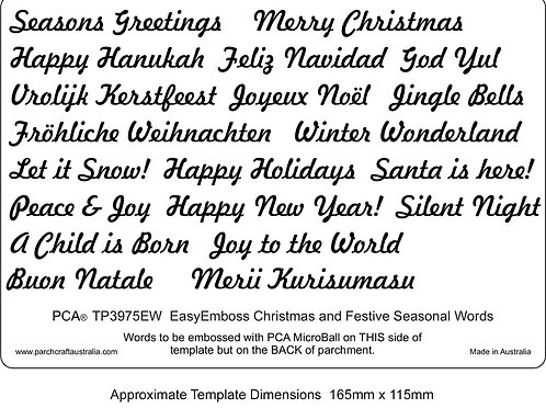 PCA Christmas and Festive Seasonal Words