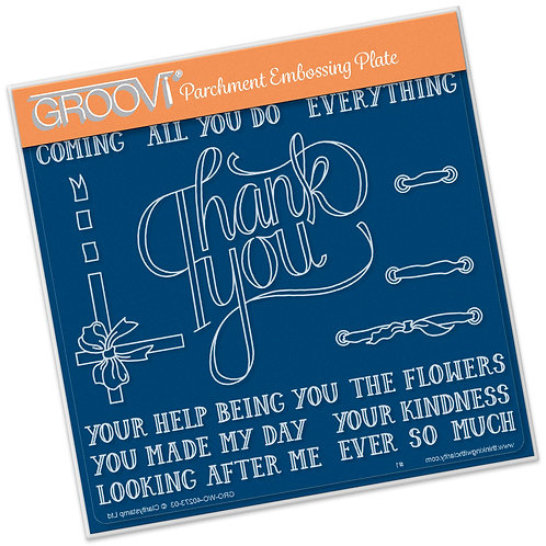 Groovi Parchment - Thank You Ribbon A5 Sq Plate