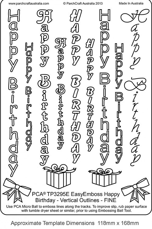 PCA EasyEmboss Happy Birthday Vertical Outlines - Fine