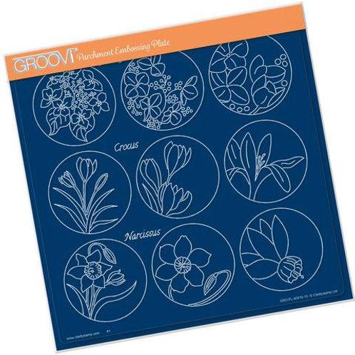 Linda's 123 Flowers - Hydrangea, Crocus & Narcissus A4 Plate