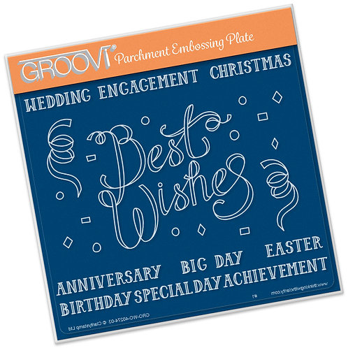 Groovi Parchment - Best Wishes Ribbon A5 Sq Plate