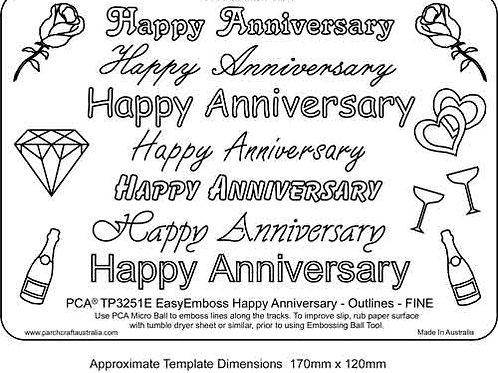 PCA EasyEmboss Happy Anniversary Outlines Fine - Horizontal