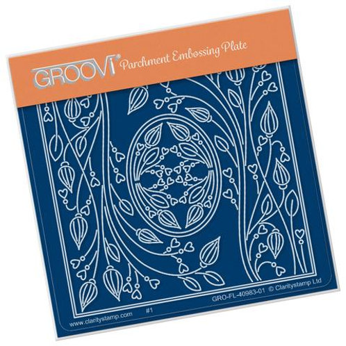TIna's Oval Flower Parchlet A6 square Groovi plate