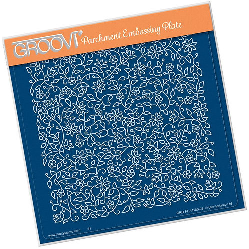 Floral Flourish Background A5 Square Groovi Plate GRO-FL-41100-03