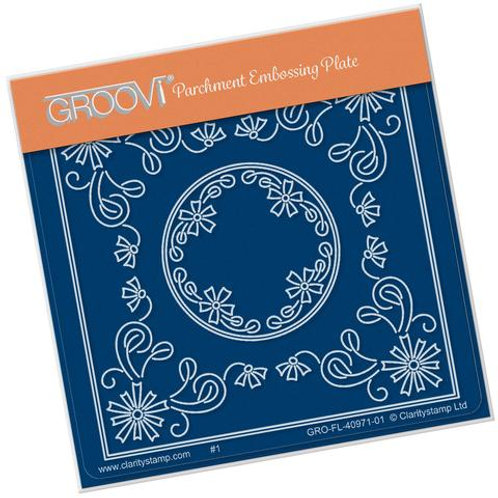 TIna's Aster Flower Parchlet A6 square Groovi plate