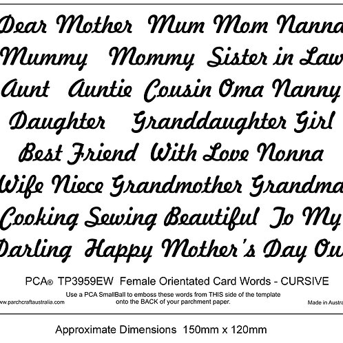PCA EasyEmboss Female Orientated Words - Cursive