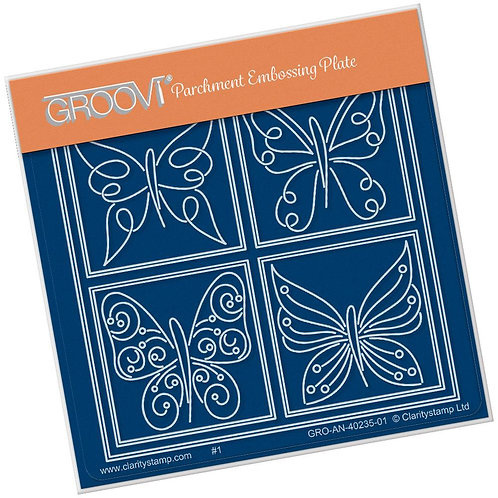 Tina's Butterfly Farfalla Petite  A6 Square Groovi Plate GRO-AN-40235-01