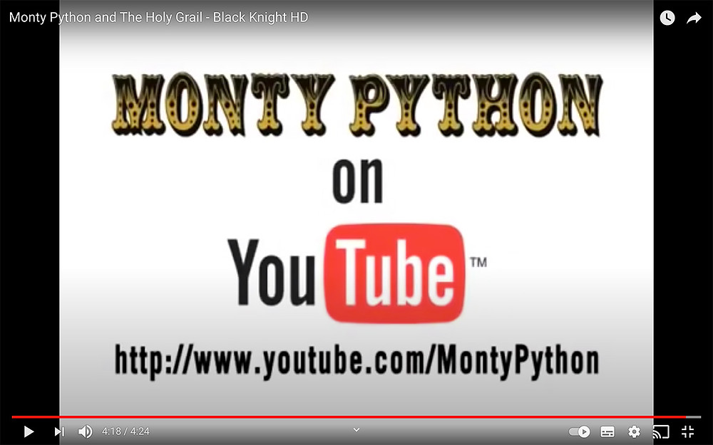 Monty Python and the Holy Grail player YouTube