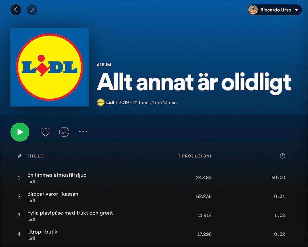 schermata dell'album di LIDL su Spotify
