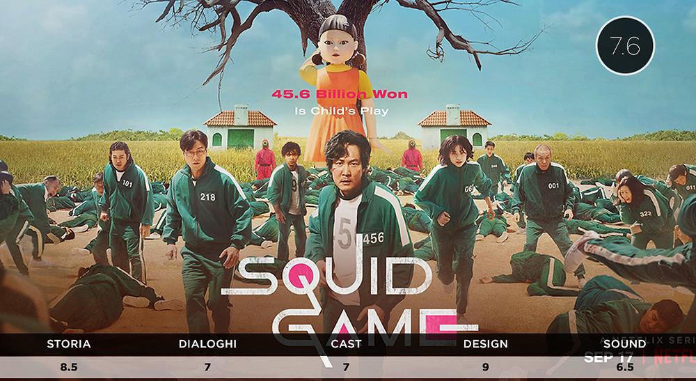 Poster locandina Squid Game Netflix set di Un Due Tre Stella