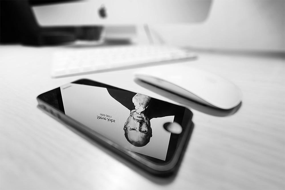 Steve Jobs on iPhone screen