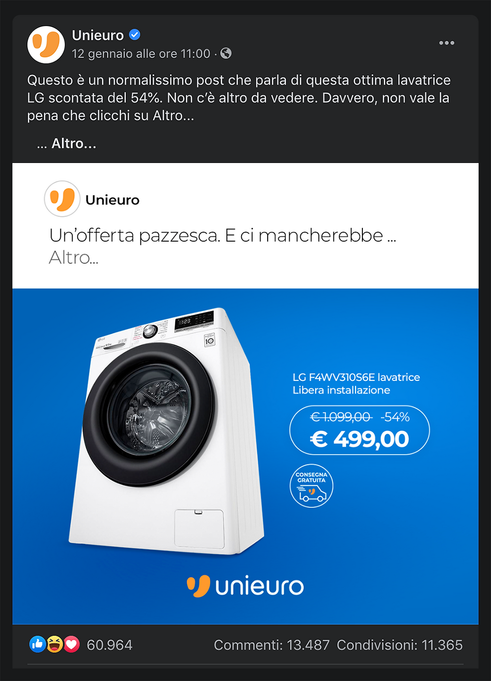 post facebook unieuro promozione lavatrice