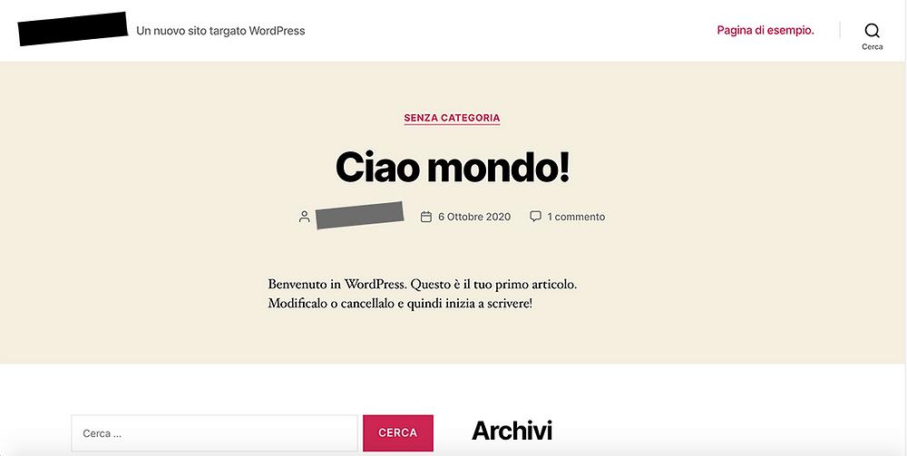 Pagina di esempio di wordpress ciao mondo