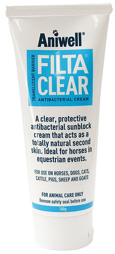 Tube of Aniwell FiltaClear. Antibacterial sun-filter to protect against sunburn and skin infection. Rubs on clear.