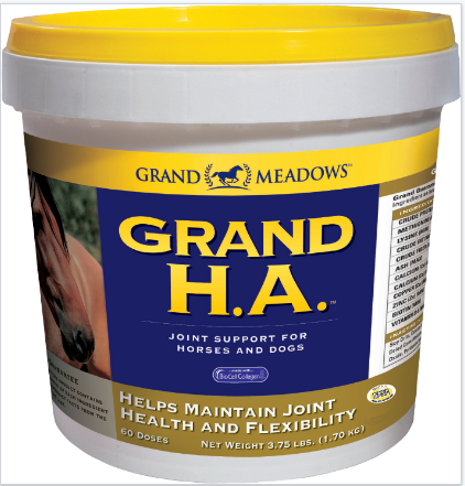 Grand H.A. pot. Horse joint supplement with high level of hyaluronic acid, also contains collagen & chondroitin sulfate.