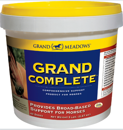 Grand Complete pot. All-in-one supplement for horses supporting joints, hoofs, immune function, digestion, skin and coat.