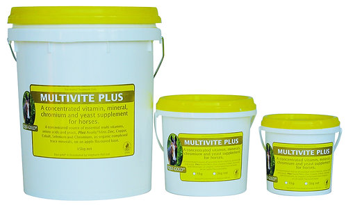 Equi-Gold Multivite Plus tubs. A multi-vitamin, amino acid and mineral dietary supplement for all horses.