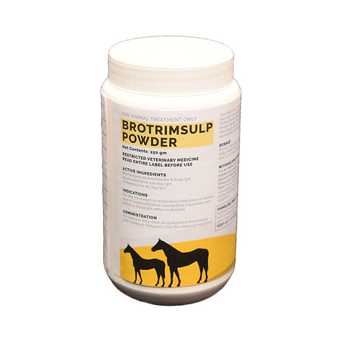Pot of Brotrimsulp. Sulphadimidine 430mg/g, trimethoprim 86mg/g & bromhexine HCl 8.6mg/g for horses.