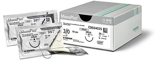 BBraun Monoplus. A violet long-term absorbable synthetic monofilament suture made of polydioxanone.