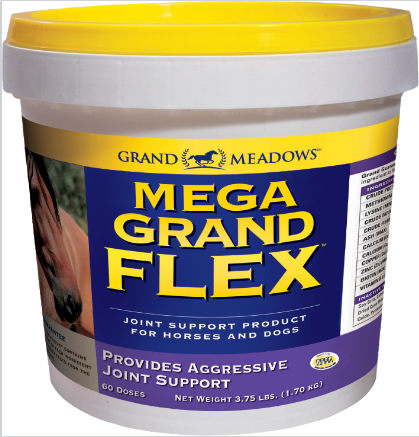Grand Meadows Mega Grand Flex pot. Aggressive joint support for your horse and dog. Additional glucosamine, plus MSM.