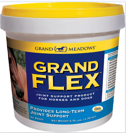 Grand Meadows Grand Flex pot. Joint supplement for horses. Contains glucosamine and co-factors