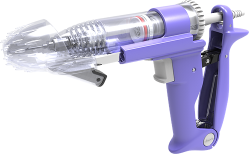 Simcro Sekurus injector.  Two-stage activation mechanism. Can administer single-handed subcutaneous injections
