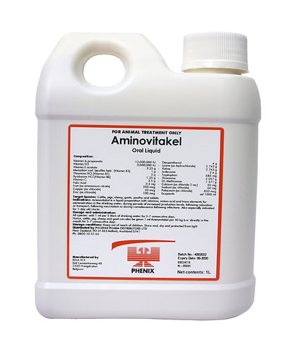 Aminovitakel bottle. A complementary feed for young animals, contains vitamins, minerals, trace elements, electrolytes & more
