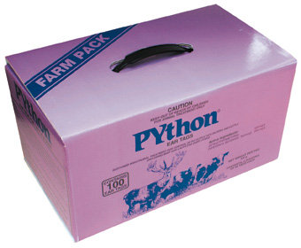 PYthon ear tag box of 100. Aids in the control of ticks on the body of deer and cattle for at least 6 weeks.
