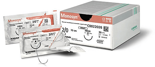 B.Braun Monosyn. A mid-term, absorbable, synthetic monofilament suture made of glyconate. Range of suture/needle combinations