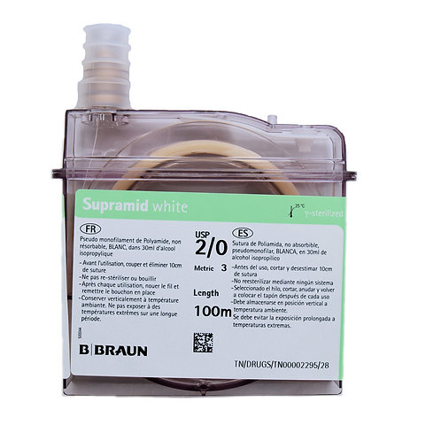 B. Braun Supramid cassette. Sheathed monofilament nylon sutures in a range of sizes from 3/0 USP to 6 USP