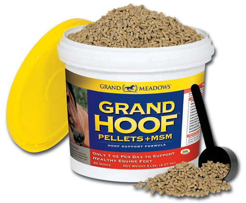 Grand Meadows Grand Hoof pellets + MSM. Horse hoof supplement with MSM. Support strong healthy hooves