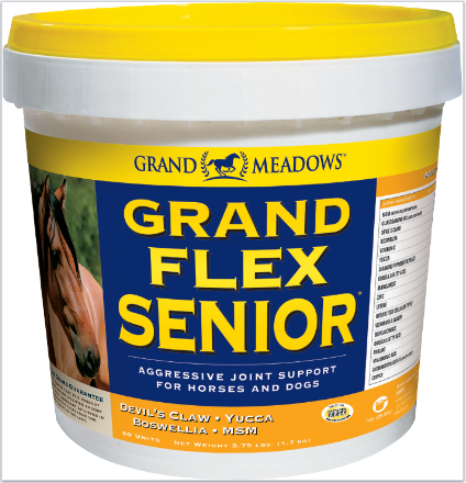 Grand Meadows Grand Flex Senior pot. Joint support for the older horse. Glucosamine, hyaluronic acid, prebiotic and more.