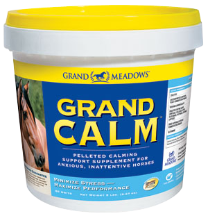 Grand Calm pot. Calming supplement for nervous, spooky or excitable horses. Contains magnesium and theanine.