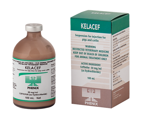 Vial of Kelacef, ceftiofur HCl 50mg/mL in a suspension for injection into cattle and pigs.