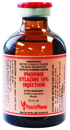 Vial of Phoenix Xylazine 10%, 100mg/mL for injection. Sedative, analgesic and muscle relaxant for use in horses and deer