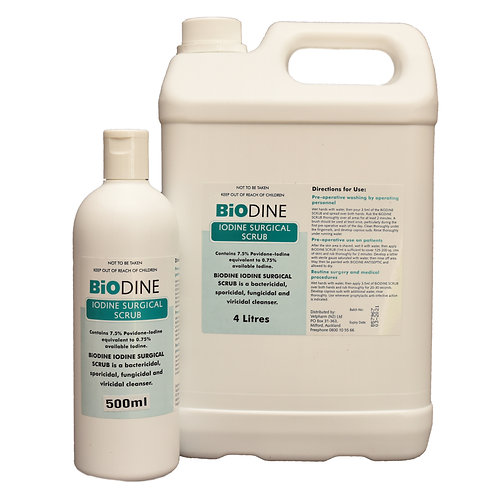 Biodine Iodine Surgical Scrub tub and bottle