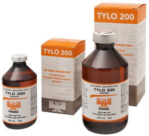 Vials of Tylo 200. Tylosin (as tartrate) 200mg/mL for cattle, swine, sheep and goats.