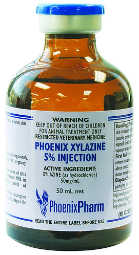 Vial of Phoenix Xylazine 5% solution for injection. A sedative, analgesic & muscle relaxant for use in horses, cattle & deer.