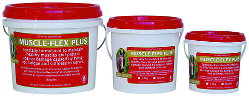 Equi-Gold Muscle Flex Plus tubs. For healthy muscles & to protect against damage from tying-up, fatigue & stiffness in horses