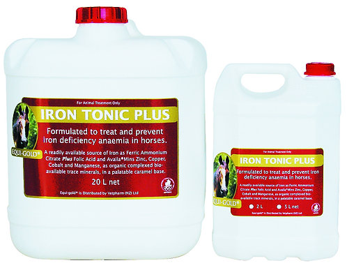 Equi-Gold Iron Tonic Plus tubs. Treatment and prevention of iron deficiency anaemia in horses.