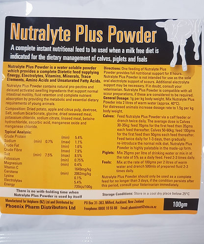 Nutralyte Plus, a complete and nutritional instant feed for all animals when a milk-free diet is needed.