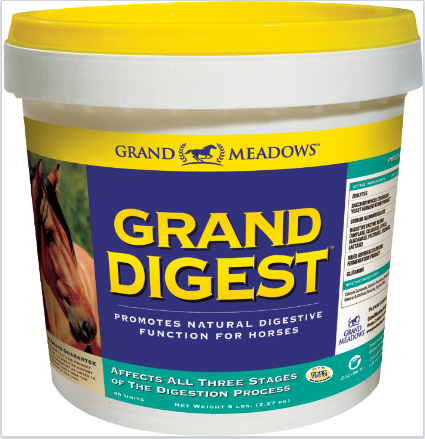 Grand Digest pot. Supplement for horses to help and support digestion. Contains glutamine, digestive enzymes, prebiotics