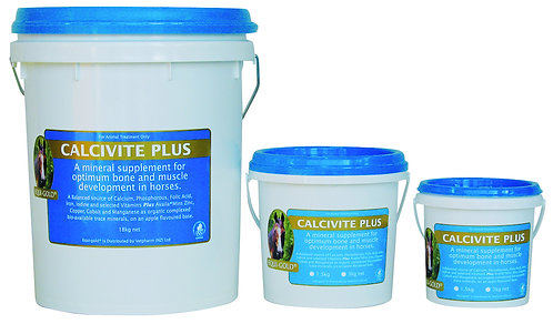 Equi-gold Calcivite Plus tubs. A supplement to support optimum bone and muscle development in horses.