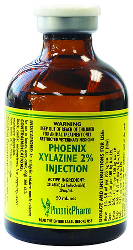 Vial of Phoenix Xylazine 2% solution for injection. Sedative, analgesic & muscle relaxant for horses, cattle, dogs & cats