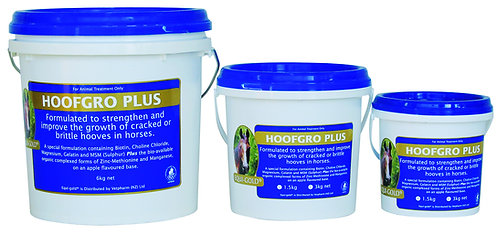 Equi-Gold HoofGro Plus tubs. Organic minerals, vitamins, nutrients & co-factors for repairing & maintaining horse hooves.