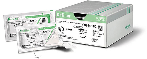 B. Braun Dafilon. A synthetic, non-absorbable monofilament suture of polyamide-6. A number of needle/suture combinations